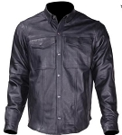 Mens Leather Shirt with Two Front Pockets