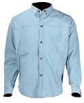 Mens Leather Shirt With Blue Denim Look