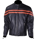 Mens Black Vented Motorcycle Jacket with Orange Racing Stripes