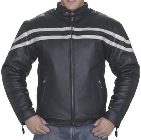 Mens Vented Leather Motorcycle Jacket, Silver Racing Stripes