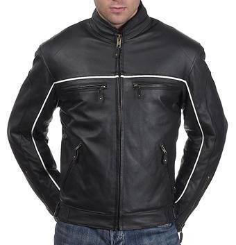 Mens Black Vented Leather Racer Jacket Reflective Stripes