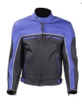 Mens Vented Black and Blue Leather Motorcycle Jacket
