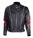 Mens Vented Leather Motorcycle Jacket with Flames