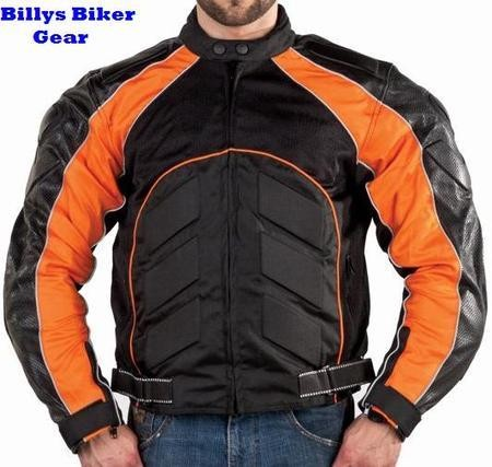 Black and Orange Vented Armored Motorcycle Jacket