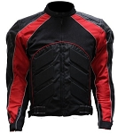 Black and Red Vented Armored Motorcycle Jacket
