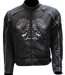Mens Armored Motorcycle Jacket With Reflective Skulls