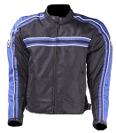 Armored Black/Blue Motorcycle Jacket, Reflective Piping
