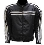 Armored Black/Gray Motorcycle Jacket, Reflective Piping