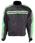 Armored Black/Green Motorcycle Jacket, Reflective Piping