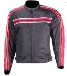 Armored Black/Red Motorcycle Jacket, Reflective Piping