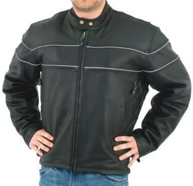 Mens Vented Reflective Piping Leather Motorcycle Jacket