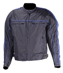 Black/Blue Armored Motorcycle Jacket, Reflective Piping
