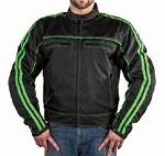 Armored Black and Green Textile Motorcycle Jacket