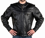Mens Double Piping Vented Leather Motorcycle Jacket