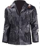 Mens Western Leather Jacket With Fringe & Beads