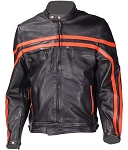 Mens Racer Style Leather Jacket with Orange Stripes