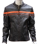 Mens Leather Motorcycle Jacket With Orange Racing Stripes