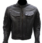 Men's Armored Vented Reflective Leather Motorcycle Jacket