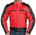 Mens Black and Red Racer Motorcycle Jacket