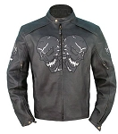 Mens Vented Leather Motorcycle Jacket with Reflective Skulls