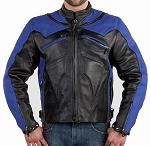 Men's Armored Vented Black & Blue Motorcycle Jacket