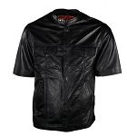 Mens Short Sleeve Leather Shirt with Gun Pocket
