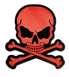 Red Monster Skull and Crossbones Motorcycle Jacket Patch