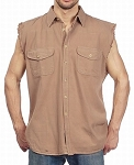 Men's Beige Denim Sleeveless Shirts with Buttons
