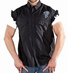 Men's Black Sleeveless Denim Shirt with Reflective Skulls