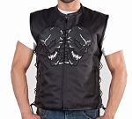 Men's Reflective Skulls Mesh Motorcycle Vest