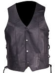 Mens Leather Vest With Multiple Pockets Gun Pocket