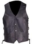 Mens Leather Vest With Multiple Pockets Gun Pocket