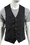 Mens Conceal Carry Black Denim Vest with Side Laces