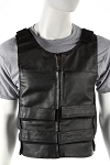 Mens Leather Vest With Shoulder & Front Straps
