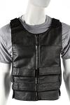 Mens Leather Vest With Shoulder & Front Straps