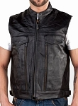 Mens Front Zipper Multiple Gun Pocket Leather Vest