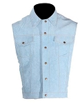 Men's Leather Vest With Blue Denim Look