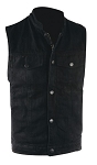 Mens Black Denim Motorcycle Vest With Gun Pockets