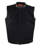 Mens Black Canvas Motorcycle Vest with Gun Pockets