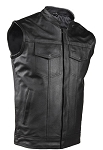Mens Leather Vest With 2 Front Pockets & Gun Pocket