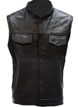 Men's Leather Vest With Zipper & 2 Front Pockets