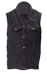 Mens Black Denim Vest with Gun Pockets