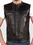 Men's Collarless Leather Motorcycle Vest with Gun Pockets