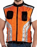 Orange & Black Safety Vest with Reflective Stripes