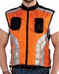 Orange & Black Safety Vest with Reflective Stripes