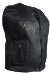 Mens Classic Leather Motorcycle Vest With Gun Pockets
