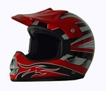 DOT Red Graphic Dirt Bike MX Motorcycle Helmet