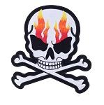 Flaming Skull Crossbones Motorcycle Jacket Patch