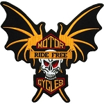 Skull and Wings Ride Free Motorcycle Jacket Patch