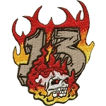 Flaming Skull Lucky 13 Motorcycle Jacket Patch